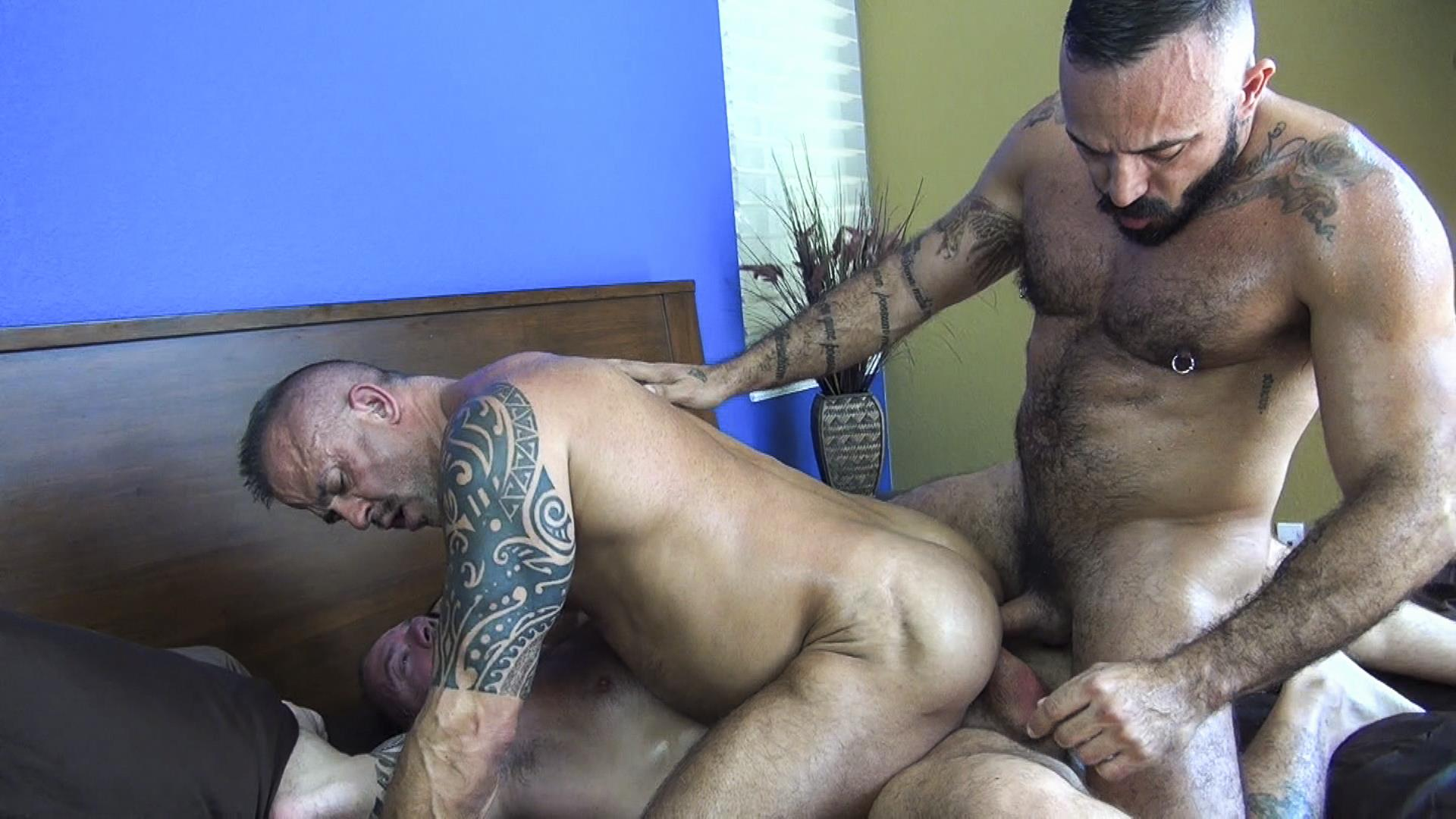 Raw-Fuck-Club-Alessio-Romero-and-Jon-Galt-and-Vic-Rocco-Hairy-Muscle-Daddy-Bareback-Amateur-Gay-Porn-1 Hairy Muscle Daddy Threeway Double Bareback Penetration