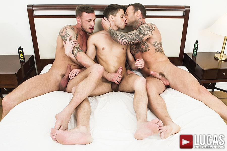 Lucas Entertainment Dylan James and Logan Rogue and Dmitry Osten Bareback Threeway Amateur Gay Porn 03 Dmitry Osten Takes A Raw Load In The Mouth And Ass