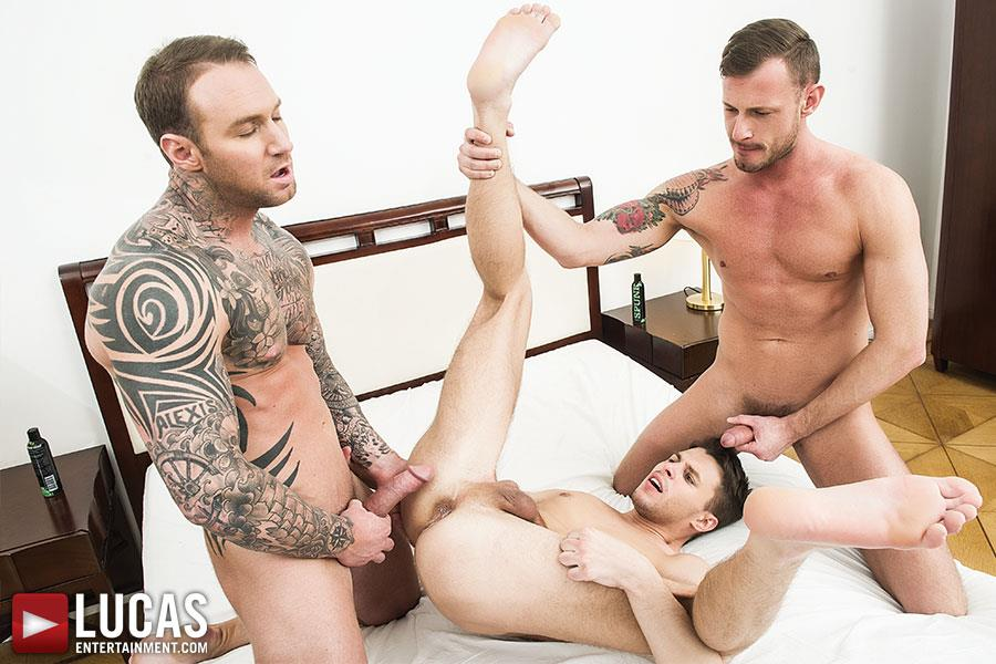 Lucas Entertainment Dylan James and Logan Rogue and Dmitry Osten Bareback Threeway Amateur Gay Porn 09 Dmitry Osten Takes A Raw Load In The Mouth And Ass