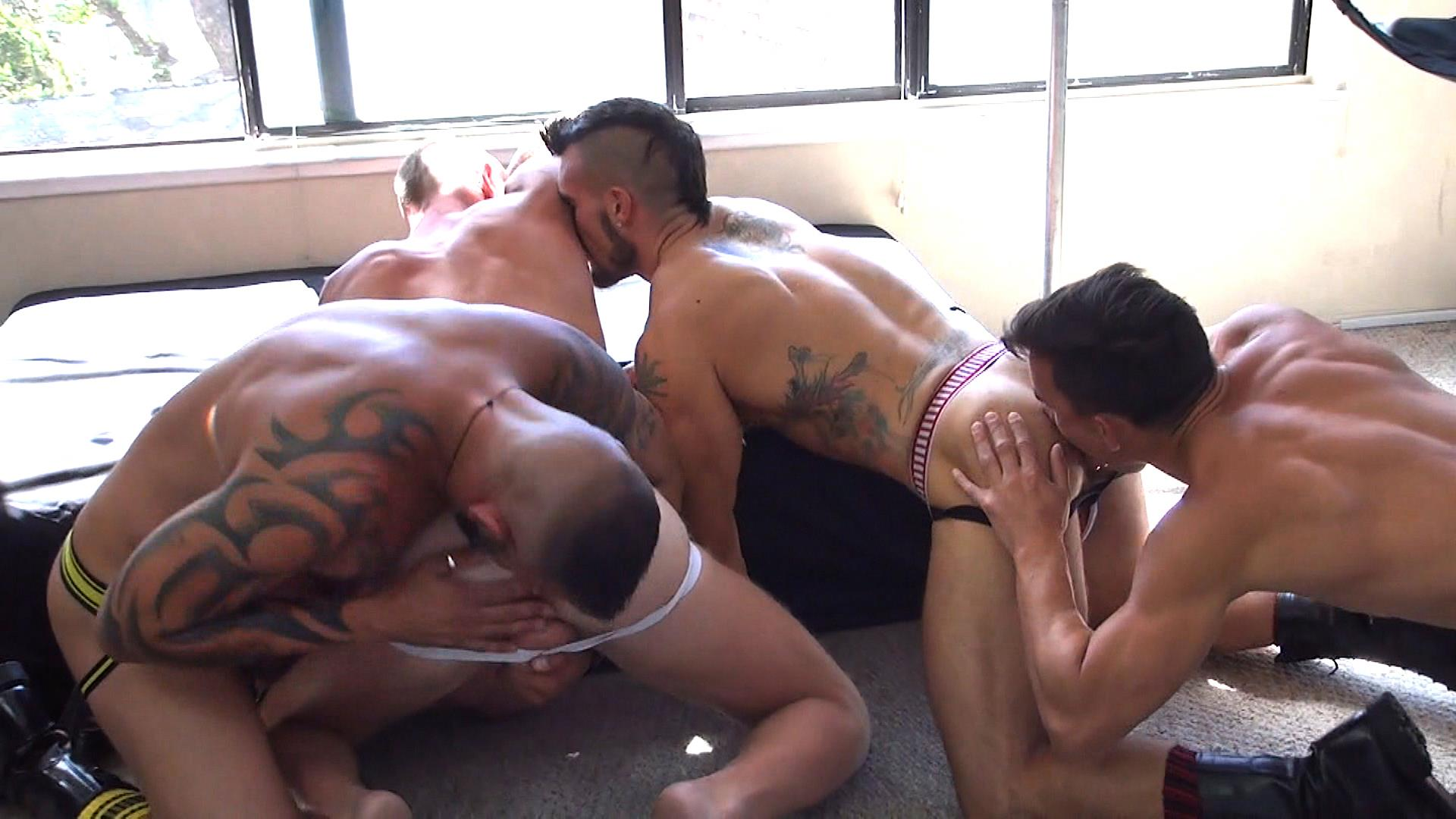 Raw Fuck Club Derrick Hanson and Aarin Asker and Billy Warren and Adam Avery Amateur Gay Porn 10 Group Sex Bareback Fucking At The Folsom Street Fair 2015