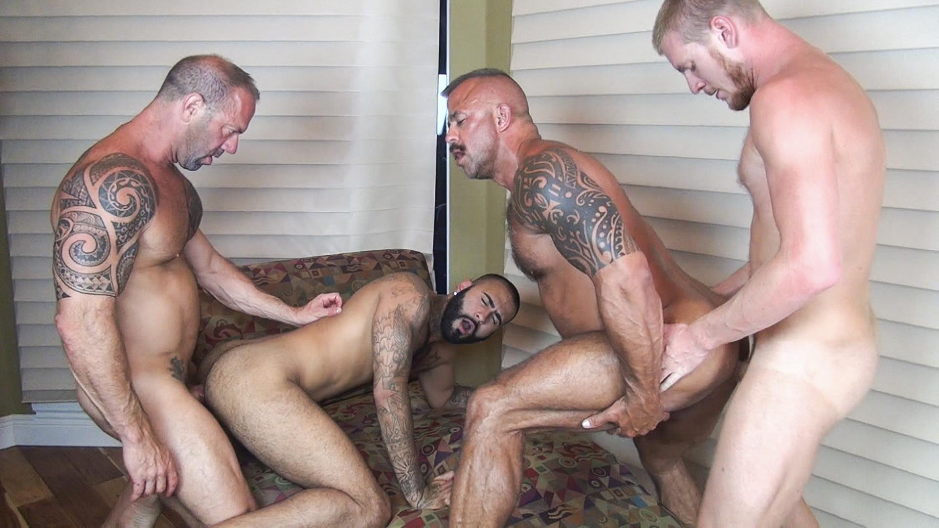 Raw-Fuck-Club-Vic-Rocco-and-Rikk-York-and-Billy-Warren-and-Job-Galt-Bareback-Daddy-Amateur-Gay-Porn-09 Four Hairy Muscle Daddies In A Bareback Fuck Fest Orgy